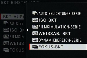 Focus Stacking - Menü Einstellungen Fujifilm X-T3